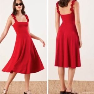 REFORMATION Eda Ruffle Strap Midi Red Dress Sz XS